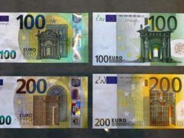 Des examplaires des nouveaux billets de 100 et 200 euros