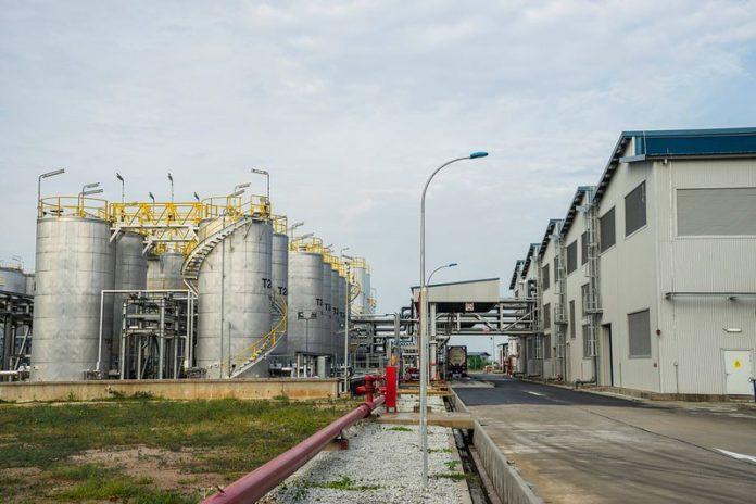 Usine de fabrication de lubrifiants à Tuas (Photo : Total).